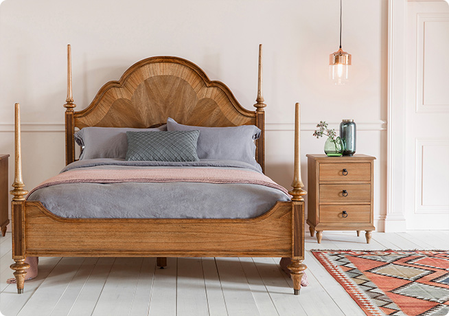 Dark wood Botticelli Bed in bedroom lifestyle interior with grey bedding and weather ash bedside table by Perch & Parrow