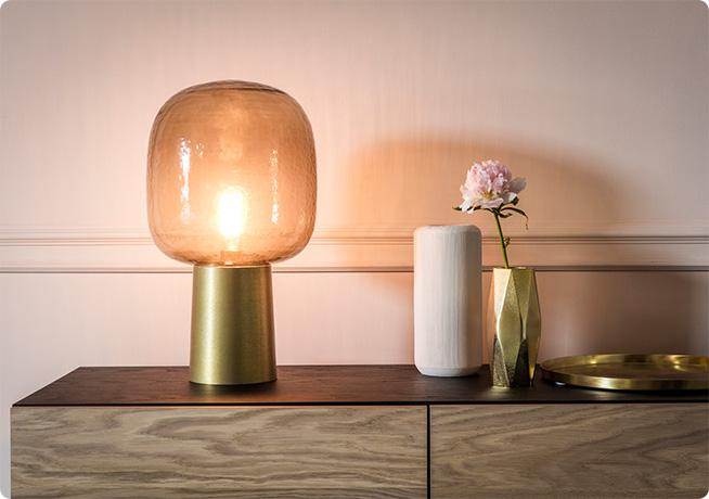 Gold Portobello Lamp on Alba Media unit with ornaments
