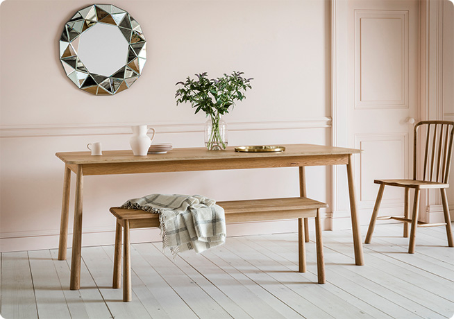 Pink Interior image of Rebecca Dinning Table and Agatha Bench by Perch & Parrow