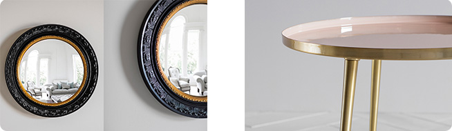 Monkhall dark wood round mirror and pink and gold Rochelle side table by Perch & Parrow