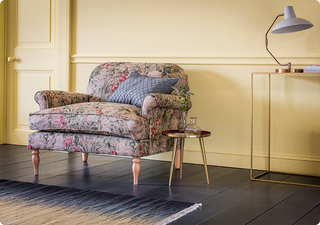 Peter Loveseat in grean and pink floral fabric with Rochelle side table by Perch & Parrow