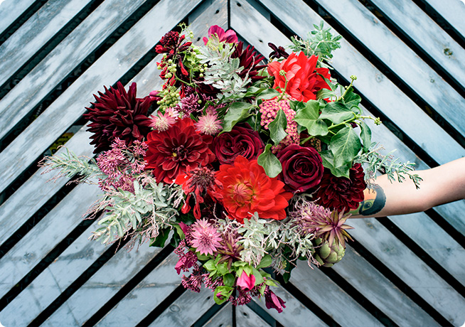 Autumnal bunch of flowers with red and burgundy by florist Rebel Rebel