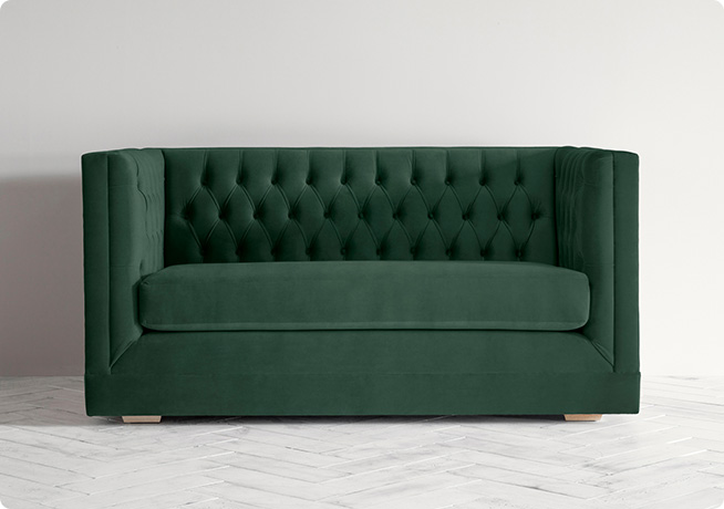 James Chesterfield style dark green Perch & Parrow Sofa