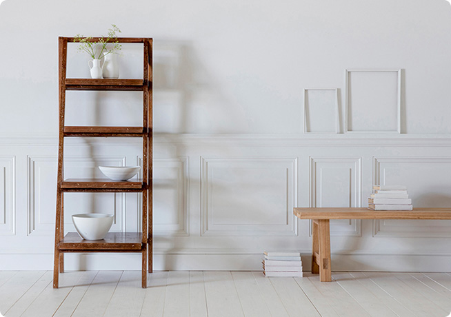 Wooden Sally Step ladder with ornaments by Perch and Parrow