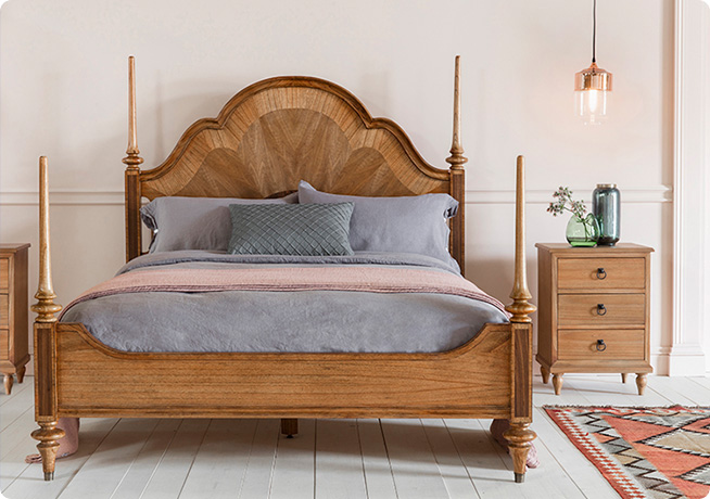 Textured wooden Botticelli Bed by Perch and Parrow in bedroom setting