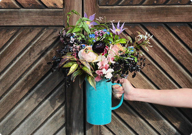 Blue vase floral arrangement by florist Rebel Rebel