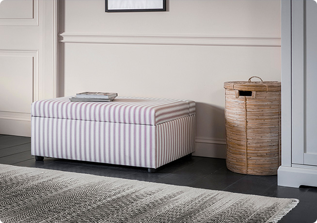 Pink striped fabric Houdini bed in a box ottoman by Perch and Parrow