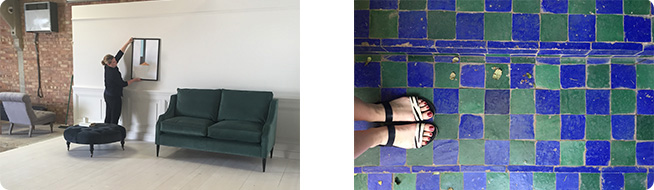 blue and green tiled floor with sandals in shot