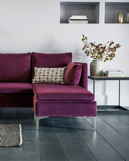 Living room interior featuring the Paul Chaise Sofa in purple XXXXXX fabric by Perch and Parrow
