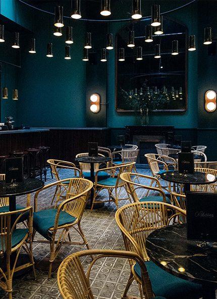 Libertine at Casa Bonay Hotel restaurant wicker chair shot in blue