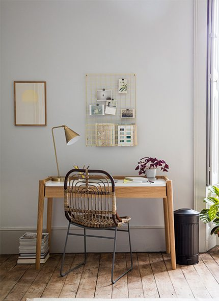 Office setting with wooden and white topped Odyn Desk by Perch and Parrow