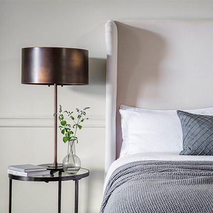 Lifestlye bedside table shot of the Alfonso Table Lamp by Perch and Parrow