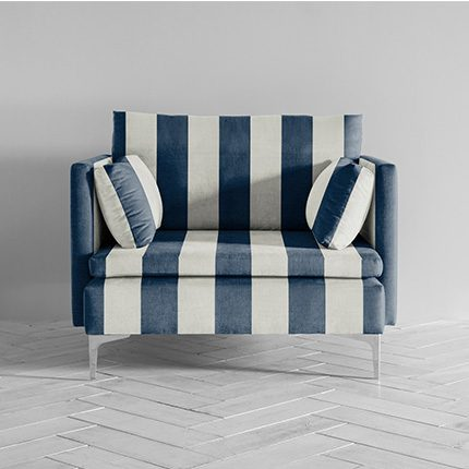 Paul Armchair in blue and white striped fabric by Perch and Parrow