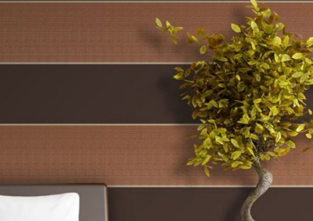 dark and light brown stripd wall paper with bonzi tree