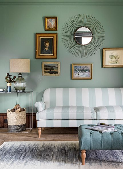: Peter 3 Seater Sofa in green and white stripe fabric with Cyrus rug and reginald footstool in blue by Perch & Parrow