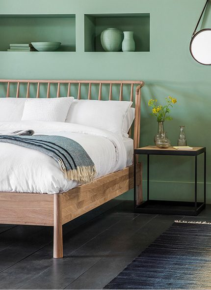 Light wood, robin bed with green wall interior bedroom and blue herbie throw by Perch & Parrow