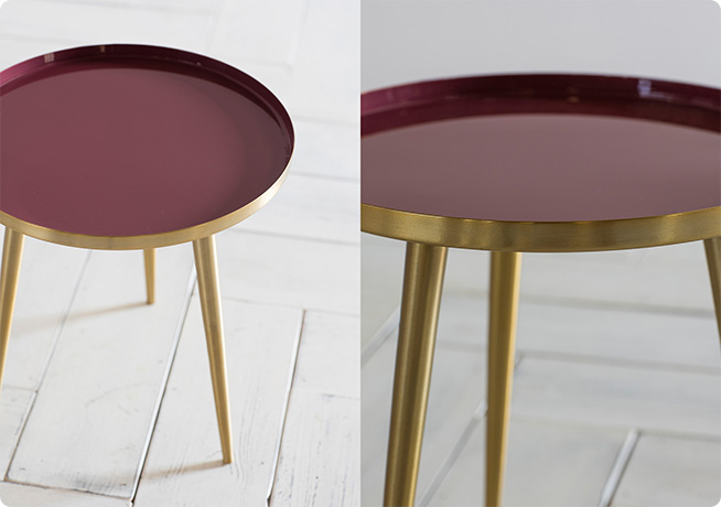 red and golden small 3 legged side table by Perch & Parrow