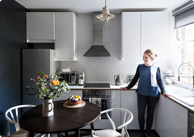 Lucy gough photographer in her own grey and chrome style kitchen interior