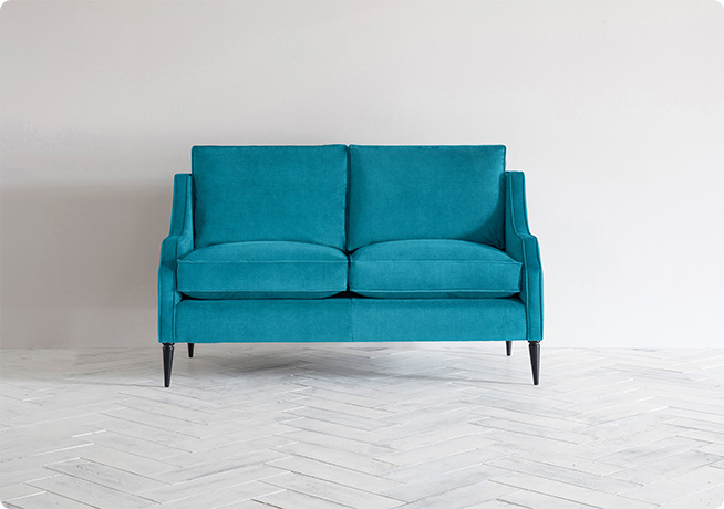 Nicholas 2 Seater Sofa in Light House Keeper, blue fabric by Perch & Parrow