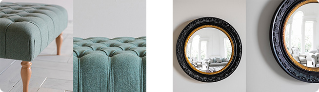 Reginald Footstool in light blue made to order fabric and the Monkhall circular mirror by Perch & Parrow