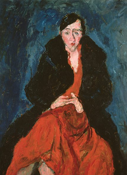 Painting of Madeleine Castaing in red dress by artisit Chaim Soutine from The Metropolitan Museum of Art
