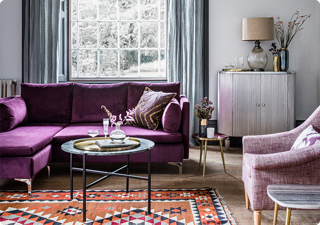 Made to order Purple velvet fabric covered Paul Chaise in a livingroom interior by Perch & Parrow