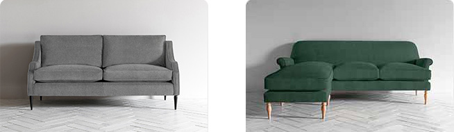 Made to order Peter 3 Seater Chaise in green fabric and Nicholas 3 Seater Sofa in grey fabric by Perch & Parrow