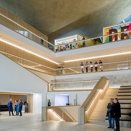 Interior image of the design museum with staircase and public by Gareth Gardner