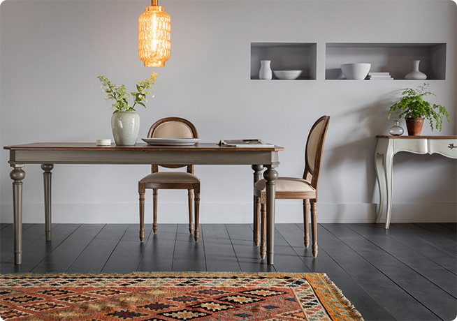 French Country style Ethel Dining chair and Noemie Dining Table in interior dining room image with grey walls and Lumley Pendant Light by Perch & Parrow