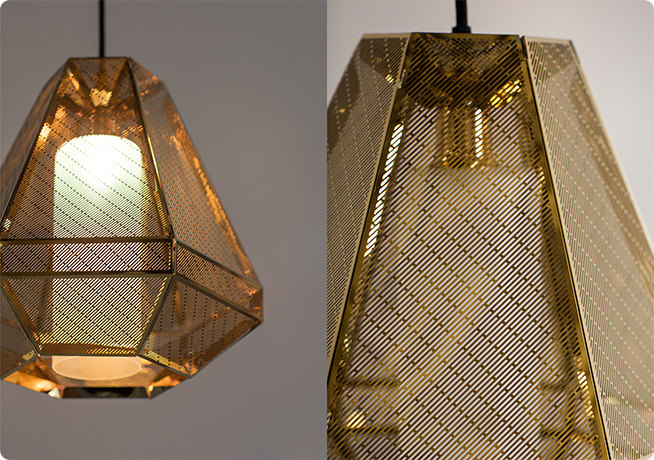 gold metal light shade on a pendant hanging light by Perch & Parrow