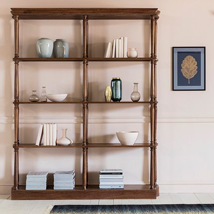 Dark wooden double shelf Harper shelving unit in a French country living room by Perch & Parrow