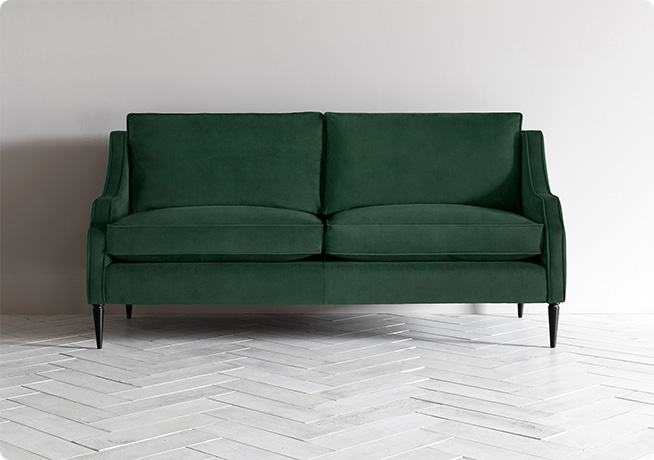 Nicholas 3 seater sofa in velvet green fabric Perch & Parrow
