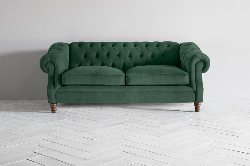 The grand Algernon three-seater sofa. Here in a gorgeous Trident Entourage velvet upholstery.