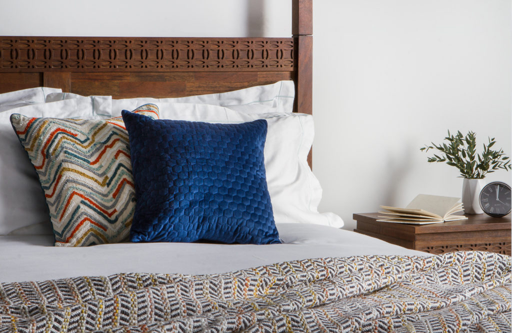 The place to have the most stylish dreams, thanks to textured cushions such as the Prabal and Beehive, teamed with the colours of the Ella throw.