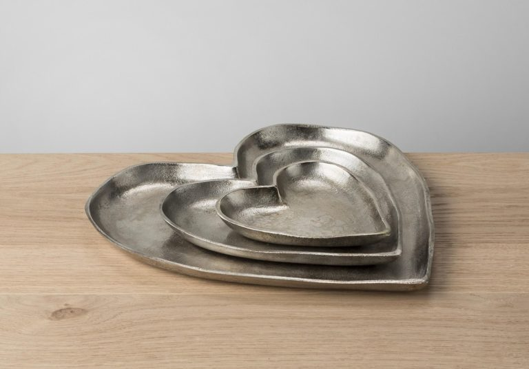 Cupid Silver Heart Shaped Dish, Large