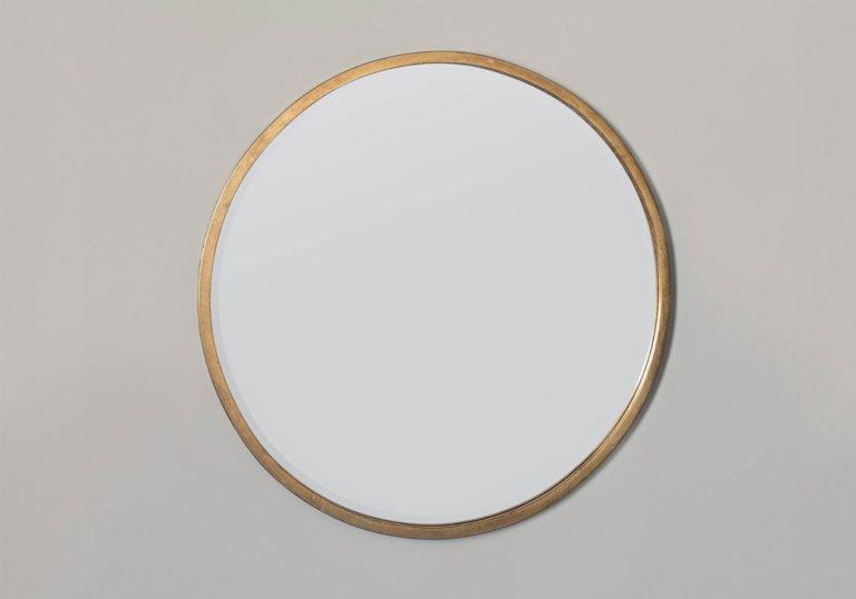 Newport Round Antique Gold Mirror