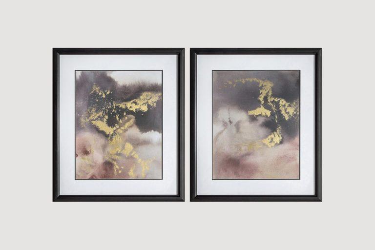 Golden Glow Framed Wall Art (Set of Two)