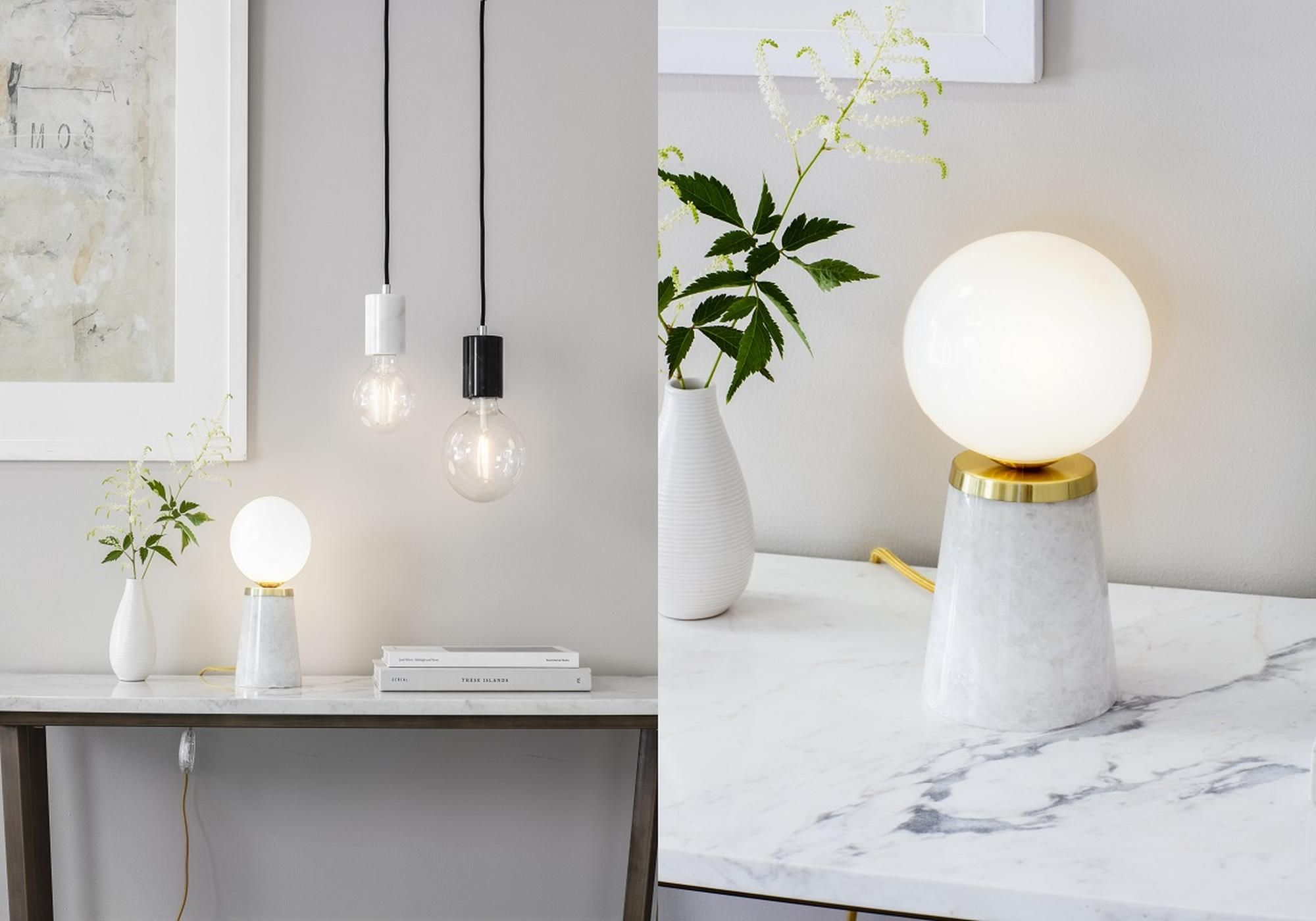 Hazel Retro Table Lamp in Marble and Gold