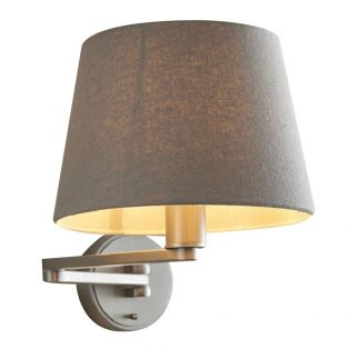 Downtown Nickel Wall Lamp with Linen Shade
