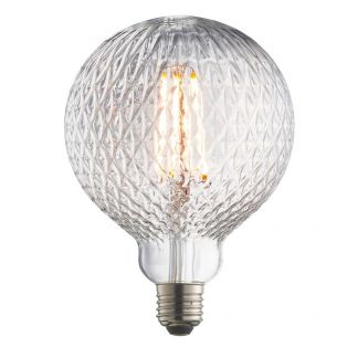 Garnet LED facet globe shaped bulb with clear glass
