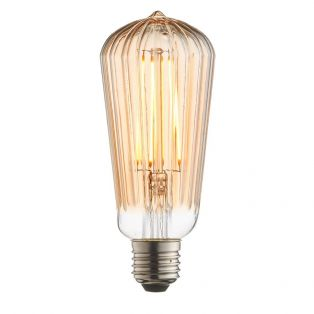 Garnet LED ribbed pear shaped bulb with amber glass