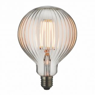 Garnet LED ribbed globe shaped bulb with clear glass