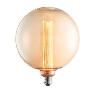 Garnet LED globe shaped bulb with amber glass