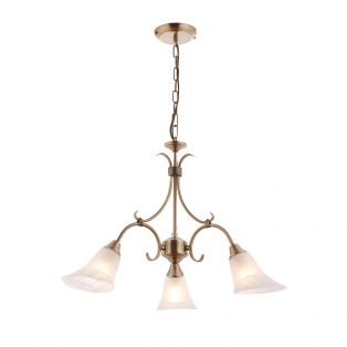 Adina Antique Brass 3 Light Chandelier