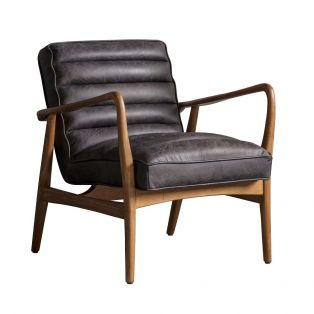 Scott Armchair in Antique Ebony and Solid Oak