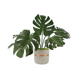 Faux Monstera in Stone Painted Planter