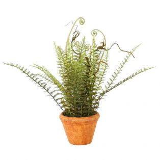 Faux Wild Fern in Red Clay Painted Planter