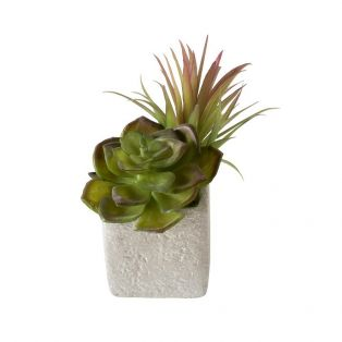 Mixed Faux Succulents in Stone Painted Planter