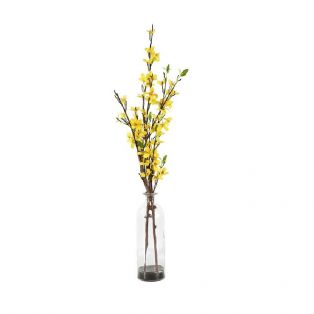 Faux Yellow Forsythia in Glass Bottle, Large