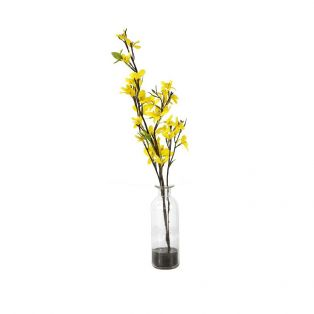 Faux Yellow Forsythia in Glass Bottle, Small